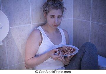 overeating, meisje, verdrietige