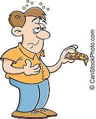 overeating, spotprent, man