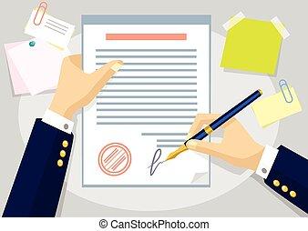 overeenkomst, plat, vector, illustratie