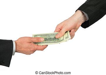 overfører, dollare, æn, en anden, hånd