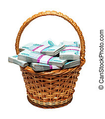 overflowing basket with money