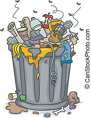 Overflowing Trashbin - Illustration of Overflowing Trashbin...