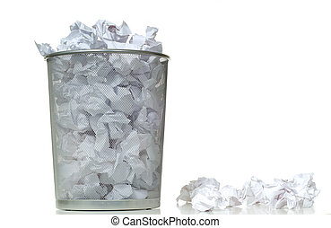 Overflowing Wastebasket - An overflowing waste basket full...