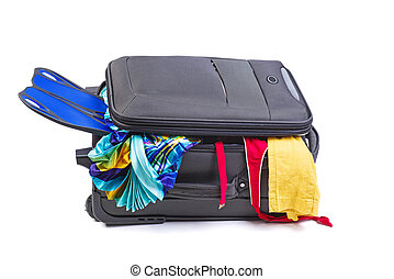 Overfull big black suitcase isolated on white background