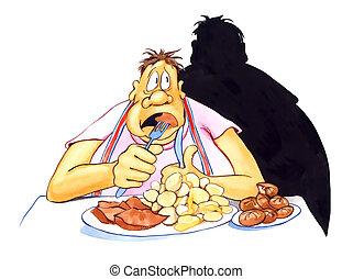 overgewicht, beklemtoonde, eten, man