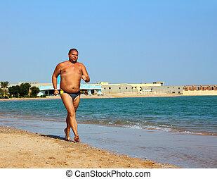 overgewicht, rennende , strand, man