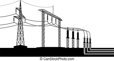 Overground and underground electricity transmission grid ? vector illustration
