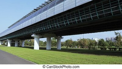Overground metro above the park - RUSSIA, MOSCOW - August...