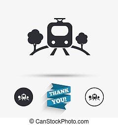 Overground sign icon. Metro train symbol.