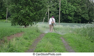 overgrown road grass mow - Rural overgrown road and farmer...