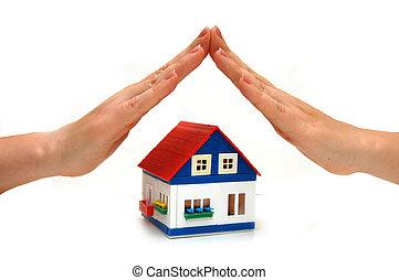 overhandigt, een, klein huis