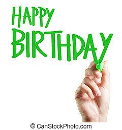 overhandiig geschrijvenene, gelukkige verjaardag