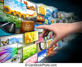 overhandiig op, media, technologie, foto, galerij