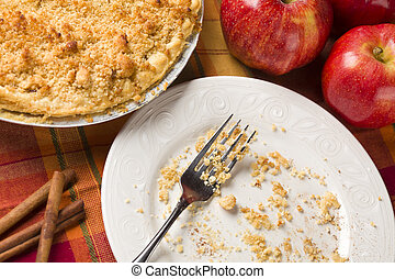 Overhead Abstract of Apple Pie, Empty Plate and Crumbs