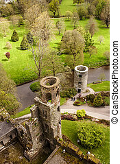 Overhead aerial view of Blarney Castle, Ireland