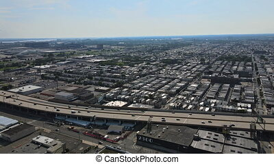 Overhead aerial view of the suburban area in the shopping ...