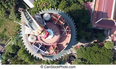 Overhead aerial view of Wat Samphran Dragon Temple in the Sam Phran District - Nakhon Pathom province, Bangkok, Thailand.