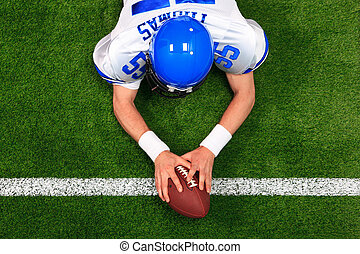 Overhead American football player touchdown - Overhead photo...