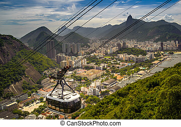 Overhead cable car over a city - Overhead cable car moving...