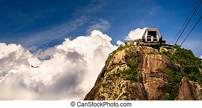 Sugarloaf Mountain - Overhead cable car station on the top...