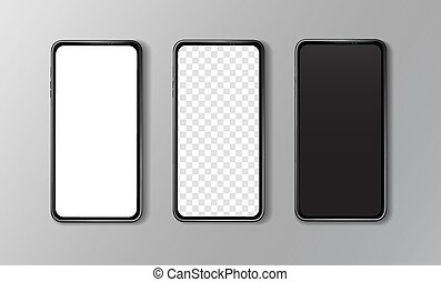 Overhead close-up front view of three smartphones