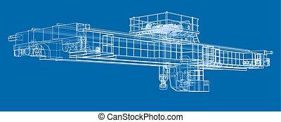 Overhead crane sketch. Vector rendering of 3d. Wire-frame...