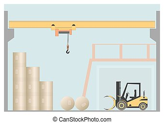 Overhead crane. Vector illustration. EPS 10. Opacity