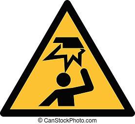Overhead obstacle sign - Warning, hazard sign vector -...