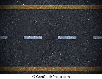 Overhead view of a road with yellow and white lines