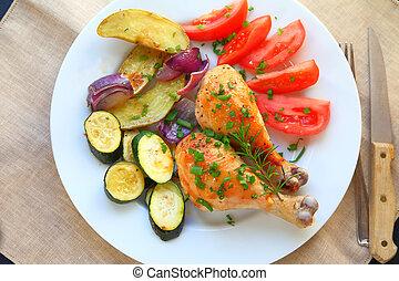 Overhead of chicken legs dinner