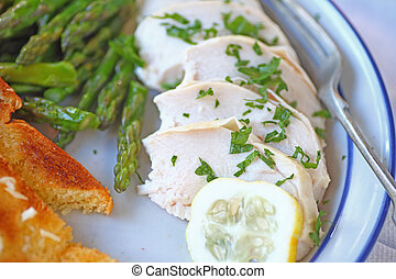 Overhead of chicken with asparagus