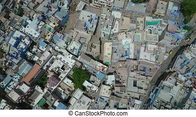 Overhead of Jodhpur, Rajasthan and Mehrangarh Fort. - Drone,...
