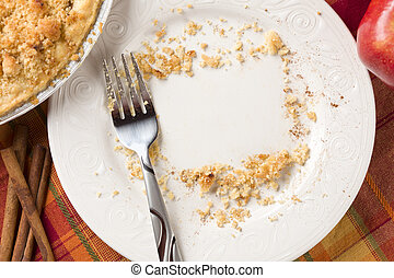 Overhead of Pie, Apple, Cinnamon, Copy Spaced Crumbs on Plate