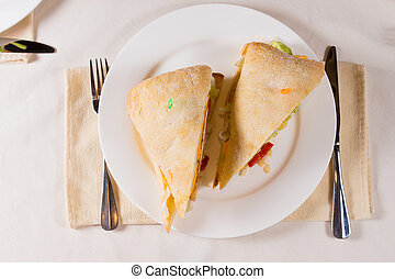 Overhead of Sandwich on Square Ciabatta Bun