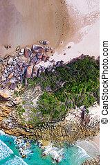 Overhead panoramic view of Squeaky Beach, Wilsons...
