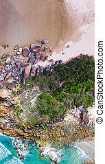 Overhead panoramic view of Squeaky Beach, Wilsons Promontory, Australia