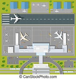 Overhead point of view airport with all the buildings, ...
