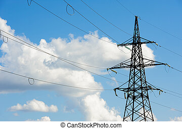 Overhead power line - High voltage overhead power line and...