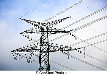overhead power line is an electric power transmission line suspended by towers or utility poles, Germany
