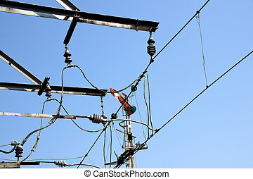 Overhead Railway Power Lines Powering Electric Trains
