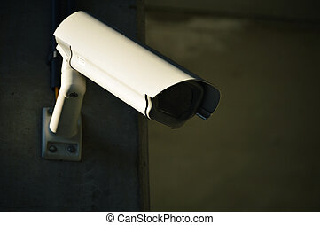 Overhead security camera in heavily guarded industrial area