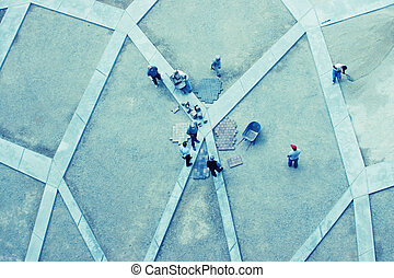 construction workers - overhead shot of construction workers...
