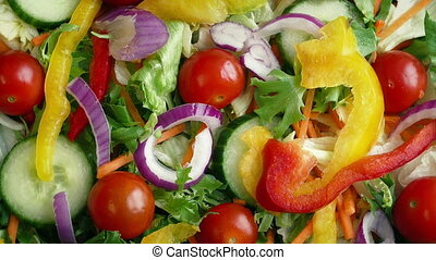 Overhead Shot Of Fresh Mixed Salad Rotating - Fresh salad...