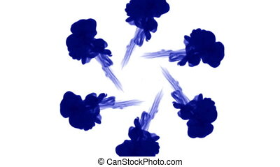 Overhead shot of isolated blue inks on white forming a circle. Blue water and move in slow motion. Use for inky background or backdrop with smoke or ink effects