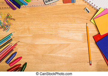 Overhead shot of pupils desk with copy space