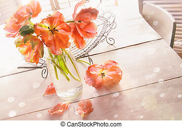 Overhead shot of spring tulips on table