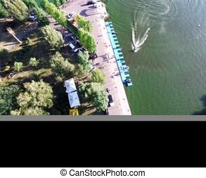 Overhead shot of the lake shore - Shooting with the copter...