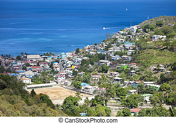 overhead view, castries st lucia - overhead view of...