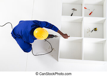 overhead view of a carpenter