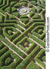 garden - overhead view of a formal garden in the Alcazar of...